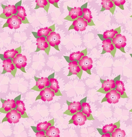 seamless pattern background with pink flowers, carnations Vector