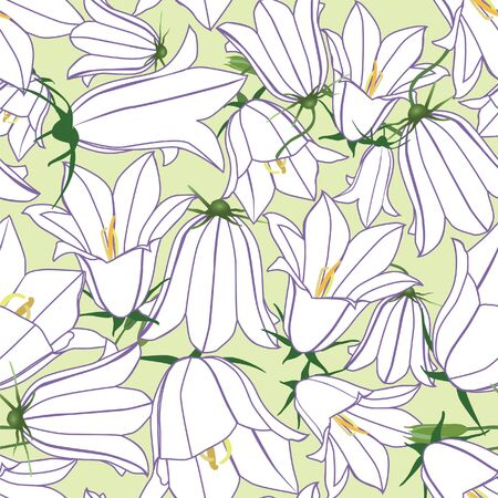 floral seamless pattern background with bluebells Vector