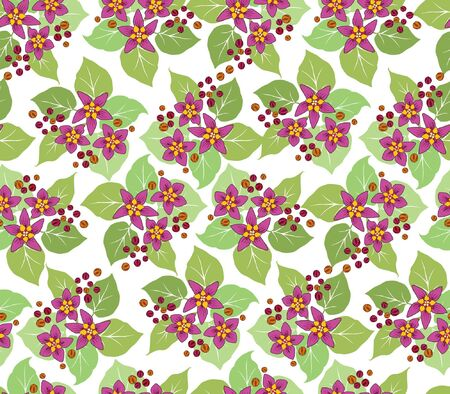 floral seamless pattern with crimson flowers  Vector