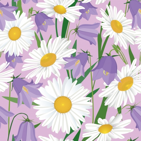 floral seamless pattern background with bluebell and chamomile Vector