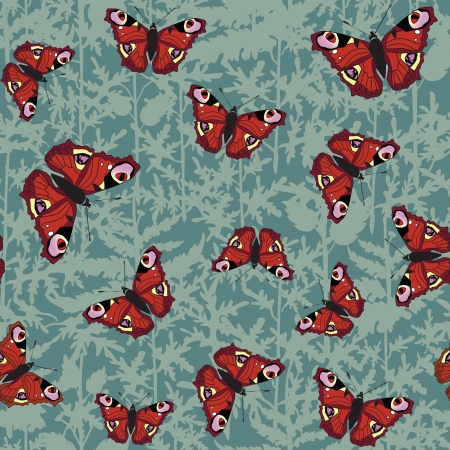 japanese garden: seamless pattern background with colour butterflies