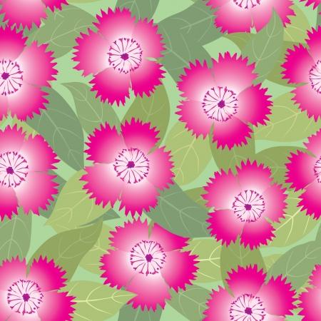 claveles: floral seamless pattern flores claveles de color rosa de fondo Vectores