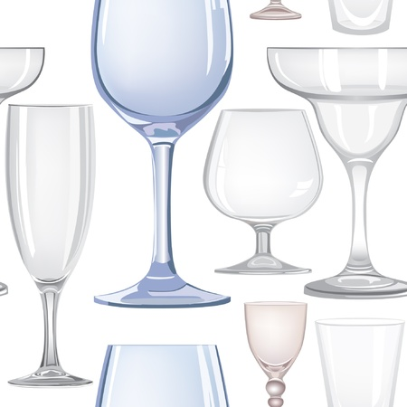 Alcohol and drink glasses seamless background  Vector