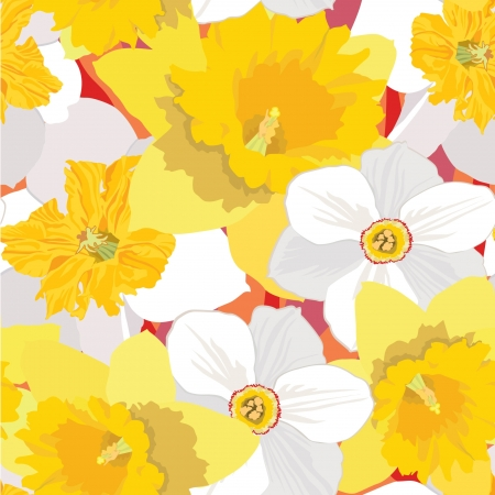 spring bed: floral seamless background  pattern with flowers daffodils