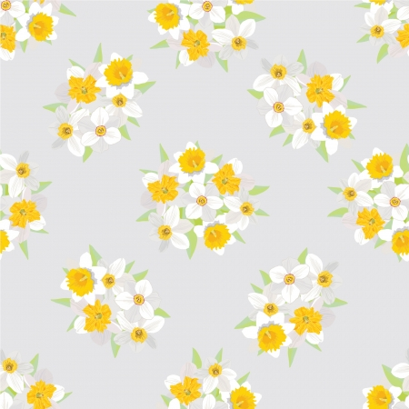 floral seamless background  pattern with flowers daffodils Vector