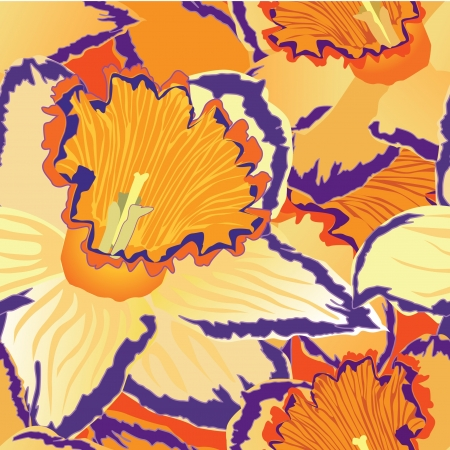 floral seamless background  pattern with flowers daffodils Stock Vector - 16228612