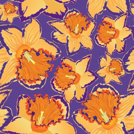 floral seamless background  pattern with flowers daffodils Stock Vector - 16228749