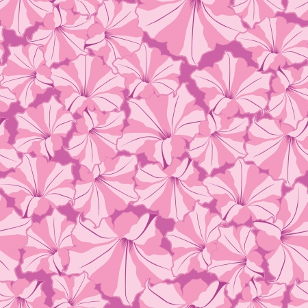 petunia: floral background  seamless pattern with pink flowers petunia Illustration