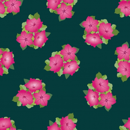 Seamless background of pink petunia flower bouquets, Vector