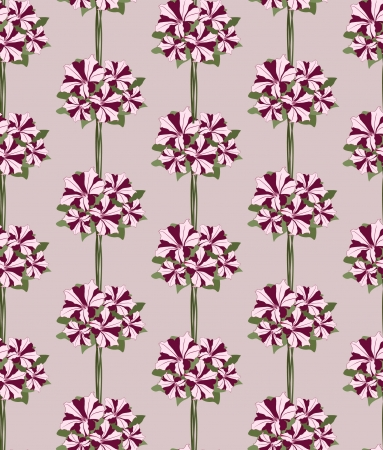 Seamless background with floral garland  petunia flowers Vector