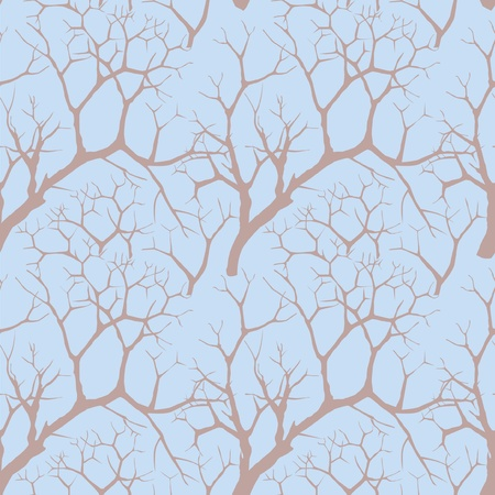 ocher: seamless background  autumn trees on a blue sky, Illustration