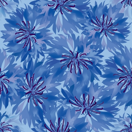 floral seamless pattern  blue flower cornflowers background Vector