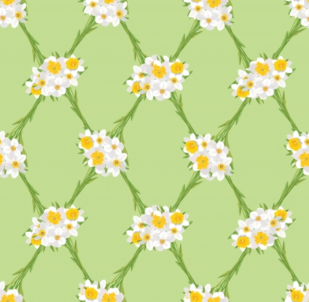 floral seamless pattern. flowers daffodil background  Vector