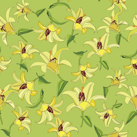 floral seamless pattern  gentle flower lily background  Vector