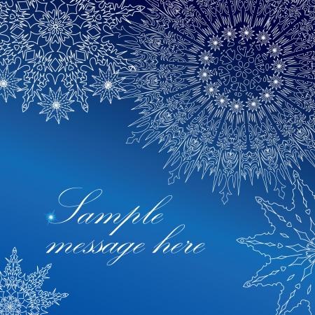 snow flakes: Sneeuwvlokken frame groetkaart van Kerstmis, Vector