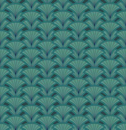 Floral pattern seamless  Fan vector motif  Green background   Vector