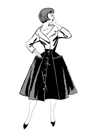 шик: Стильная мода одетые девушки 1950 с 1960-х годов стиле ретро Fashion Party старинные силуэты моды от 60-х годов Иллюстрация