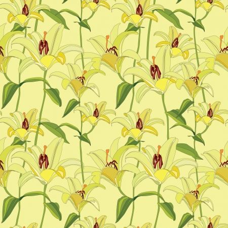 floral seamless pattern with yellow flowers lily  Vector