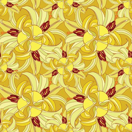 japanese motif: floral seamless pattern  yellow flowers lily background Illustration
