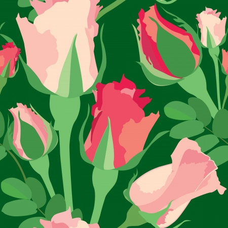 magnificence: flower seamless background with pink and red roses on green