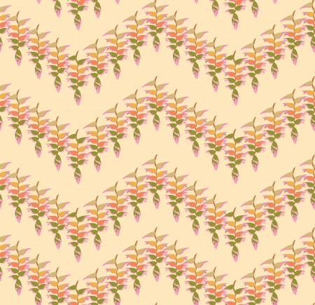 Floral pattern seamless  Zig-zag vector motif on yellow background  Vector