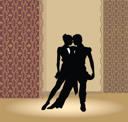theatrical dance: Dance pair in tango passion  Illustration