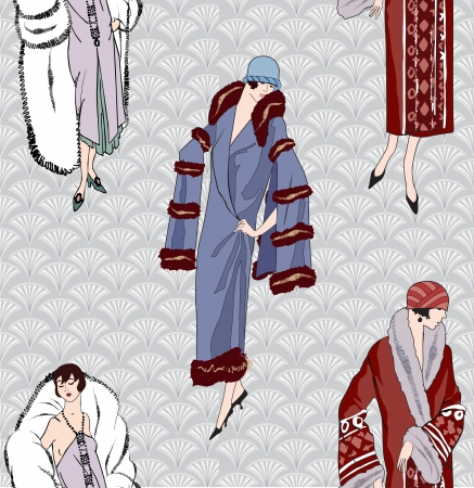 30s: Flapper girls  20s style  seamless pattern  Retro fashion party background