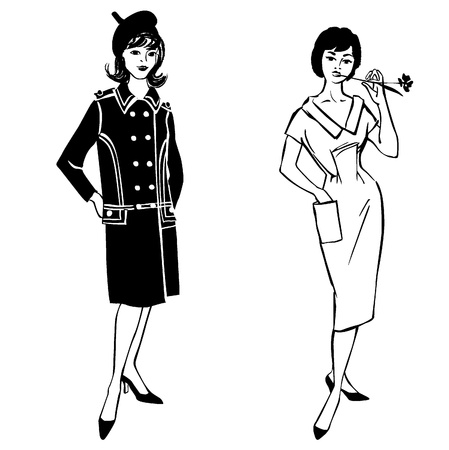 Stylish fashion dressed girl  1950 s 1960 s style   Retro fashion party  vintage fashion silhouettes from 60s  Vector