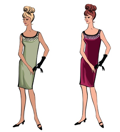 office romance: Stylish fashion dressed girls  1950 s 1960 s style   Retro fashion party  vintage fashion silhouettes from 60s