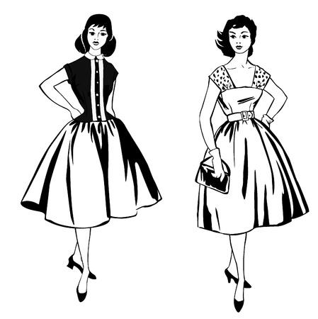 abito elegante: Moda elegante vestito ragazze 1950 s 1960 s stile retr� moda silhouette moda vintage partito da anni '60