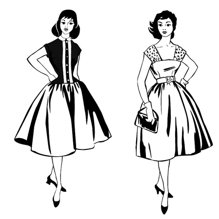 fashion design: Stylish fashion dressed girls  1950 s 1960 s style   Retro fashion party  vintage fashion silhouettes from 60s