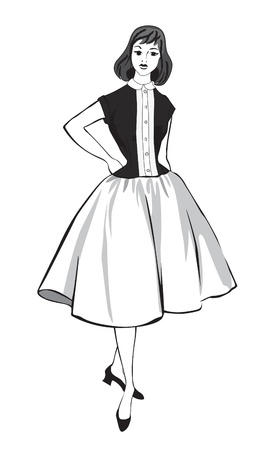 Stylish fashion dressed girls  1950 s 1960 s style   Retro fashion party  vintage fashion silhouettes from 60s