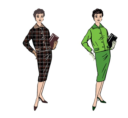 spring coat: Stylish fashion dressed girl  1950 s 1960 s style   Retro fashion party  vintage fashion silhouettes from 60s  Illustration