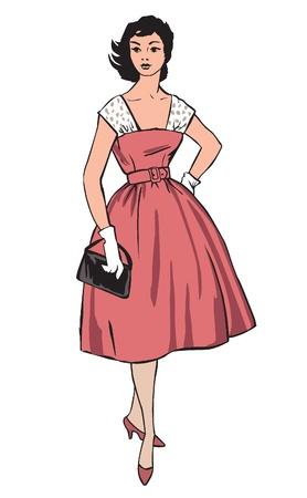 sundress: Stylish fashion dressed girls  1950 s 1960 s style   Retro fashion party  vintage fashion silhouettes from 60s