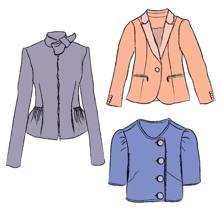 warm clothing: Woman fashion jacket colorful illustration  Template  Illustration