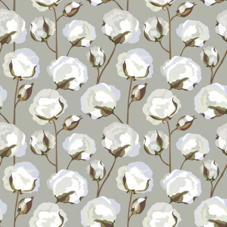 organic cotton: Cotone, pianta, motivo floreale senza soluzione di continuit� Vettoriali