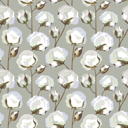 buds: Cotton plant floral seamless pattern
