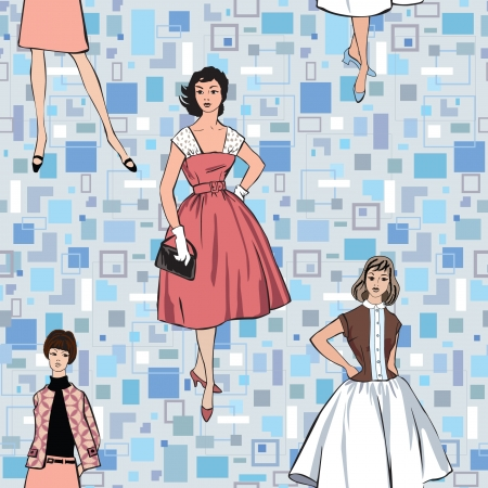 sundress: Stylish fashion dressed girls  1950 s 1960 s style  seamless pattern  Retro fashion party  vintage fashion silhouettes from 60s