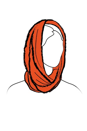 snood: Fashion girl  Illustration of woman wearing scarf  Snood template