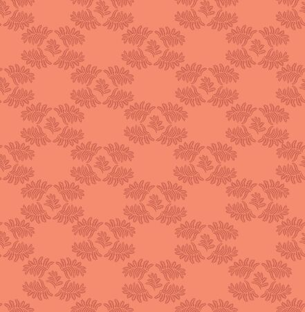 leaves seamless pattern on red background Vector