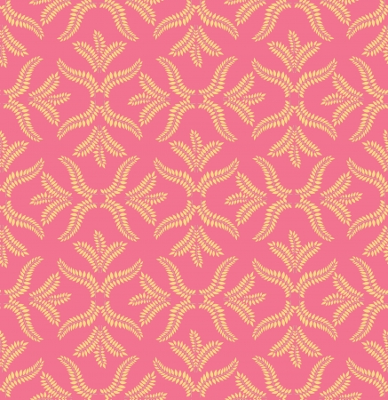 pale ocher: leaves seamless pattern on pink background Illustration