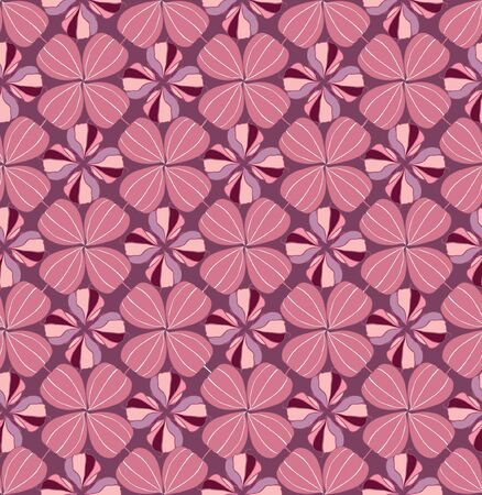 retro circles: Floral pattern seamless  Flower vector motif on pink background