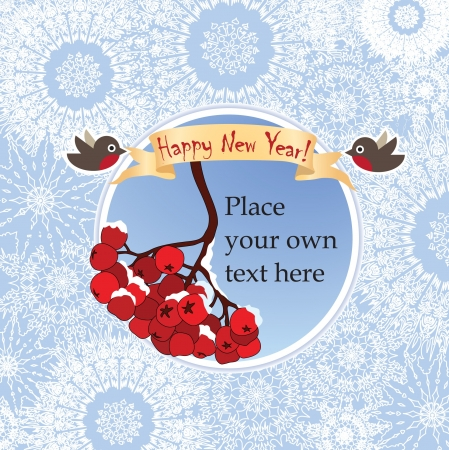 ashberry: Christmas and New Year greeting card with ribbon, snowflakes and ashberry