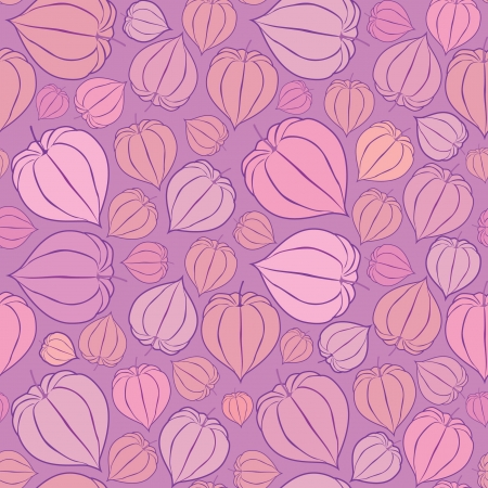 floral seamless pattern with winter cherry, floral motif lilac background  Vector