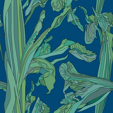 floral seamless background  gentle outline flowers iris on blue backdrop  Vector