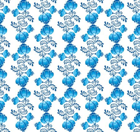 Floral pattern seamless  Flower vector motif on white background in russian style   Vector