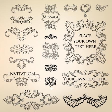 Calligraphic retro elements and page decoration  Vintage Vector Design Ornaments  Vector