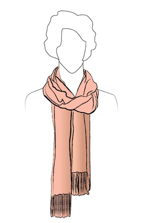warm clothes: Neckerchiefs tied  Illustration of woman wearing scarf   Illustration