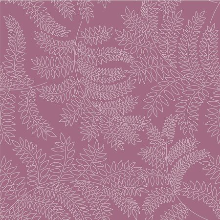 drawing on the fabric: leaves seamless pattern on purple background