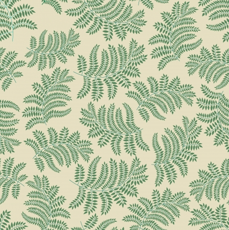 fern: leaves seamless pattern on yellow background  Illustration